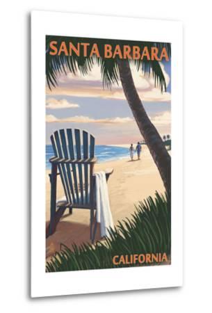Santa Barbara, California - Adirondack Chair on the Beach