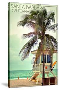 Santa Barbara, California - Lifeguard Shack and Palm by Lantern Press