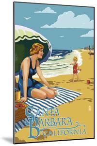 Santa Barbara, California - Woman on Beach by Lantern Press