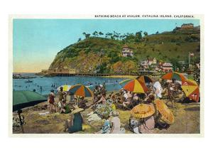 Santa Catalina Island, California - Crowded Beach Scene by Lantern Press