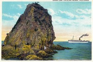 Santa Catalina Island, California - Sugar Loaf View of a Ship by Lantern Press