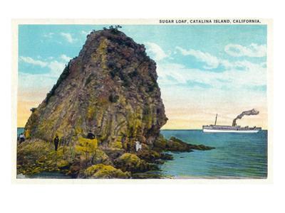 Santa Catalina Island, California - Sugar Loaf View of a Ship