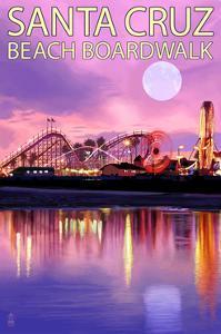 Santa Cruz, California - Beach Boardwalk and Moon at Twilight by Lantern Press
