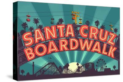 Santa Cruz, California - Beach Boardwalk Sign at Night