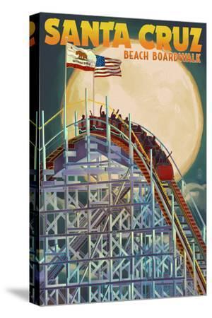 Santa Cruz, California - Big Dipper Coaster and Moon