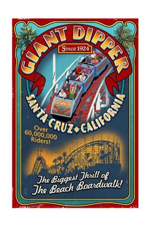 Santa Cruz, California - Giant Dipper Roller Coaster Vintage Sign by Lantern Press
