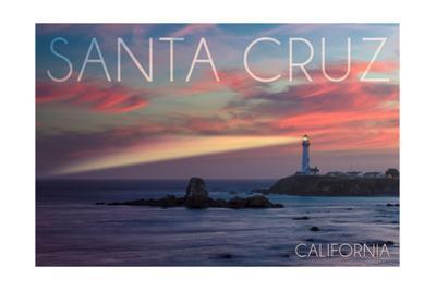 Santa Cruz, California - Lighthouse at Sunset
