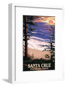 Santa Cruz, California - Pleasure Point Sunset and Surfers by Lantern Press