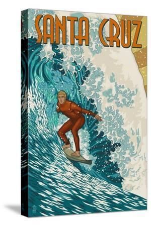 Santa Cruz, California - Stylized Surfer