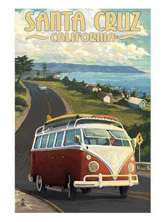 Santa Cruz, California - VW Van by Lantern Press