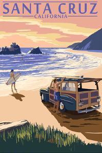 Santa Cruz, California - Woody on Beach by Lantern Press
