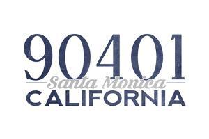 Santa Monica, California - 90401 Zip Code (Blue) by Lantern Press