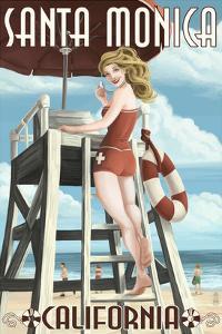 Santa Monica, California - Lifeguard Pinup by Lantern Press