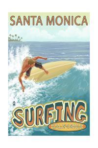 Santa Monica, California - Surfer by Lantern Press