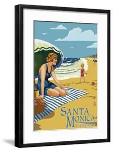 Santa Monica, California - Woman on the Beach by Lantern Press