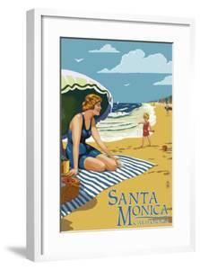 Santa Monica, California - Woman on the Beach by Lantern Press