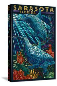 Sarasota, Florida - Dolphin Paper Mosaic by Lantern Press