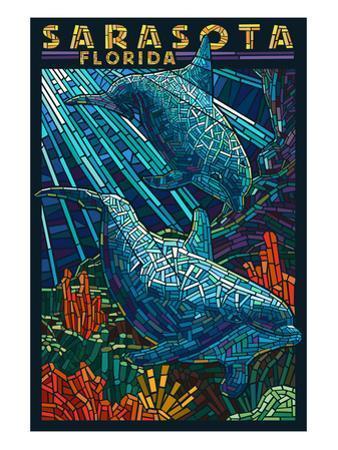 Sarasota, Florida - Dolphin Paper Mosaic