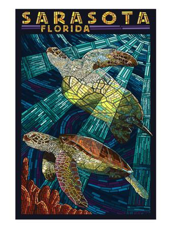 Sarasota, Florida - Sea Turtle Paper Mosaic by Lantern Press
