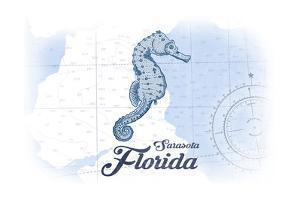 Sarasota, Florida - Seahorse - Blue - Coastal Icon by Lantern Press