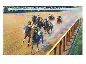 Saratoga Springs, New York - Home Stretch on the Track by Lantern Press