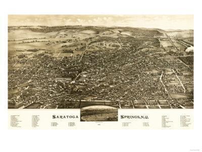 Saratoga Springs, New York - Panoramic Map by Lantern Press