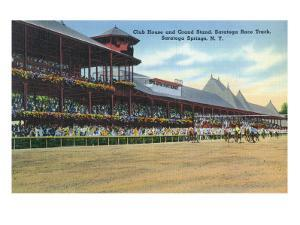 Saratoga Springs, New York - Racetrack View of Clubhouse, Band Stand by Lantern Press