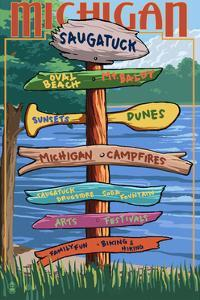 Saugatuck, Michigan - Sign Destinations by Lantern Press