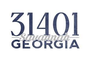 Savannah, Georgia - 31401 Zip Code (Blue) by Lantern Press