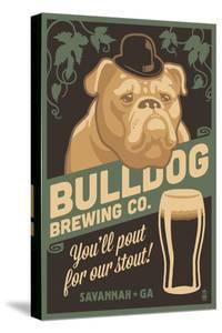 Savannah, Georgia - Bulldog - Retro Stout Beer Ad by Lantern Press