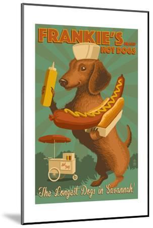 Savannah, Georgia - Dachshund - Retro Hotdog Ad by Lantern Press