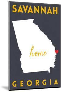 Savannah - Georgia - Home State - White on Gray by Lantern Press