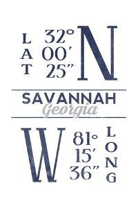 Savannah, Georgia - Latitude and Longitude (Blue) by Lantern Press