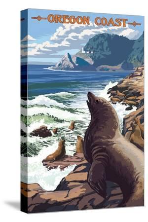 Sea Lions and Lighthouse - Oregon Coast