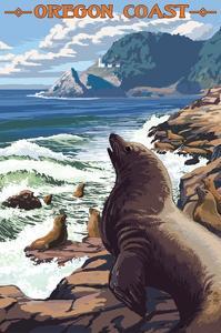 Sea Lions and Lighthouse - Oregon Coast by Lantern Press