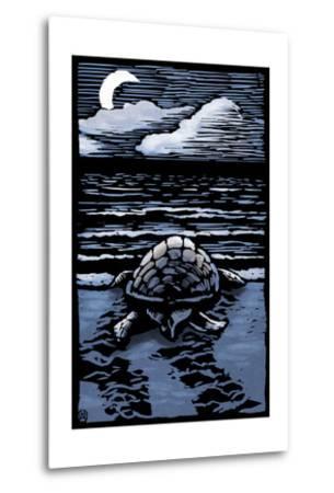 Sea Turtle on Beach - Scratchboard