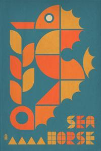 Seahorse Geometric (Blue) by Lantern Press