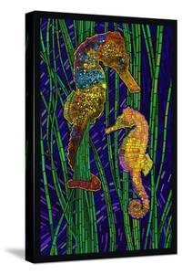 Seahorses - Paper Mosaic by Lantern Press