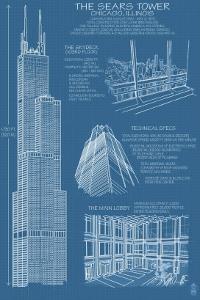 Sears Tower Blue Print - Chicago, Il, c.2009 by Lantern Press