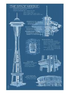 Seattle, WA, Space Needle Technical Drawing by Lantern Press