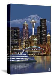 Seattle, Washington at Night - Image Only by Lantern Press