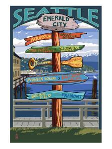 Seattle, Washington - Destination Signs by Lantern Press