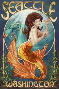Seattle, Washington - Mermaid Scene by Lantern Press