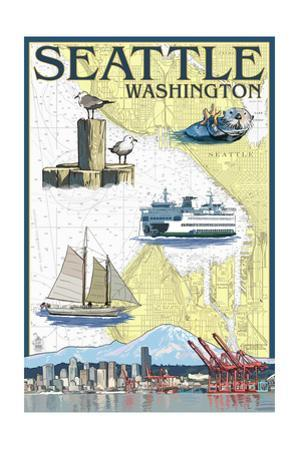 Seattle, Washington - Nautical Chart by Lantern Press