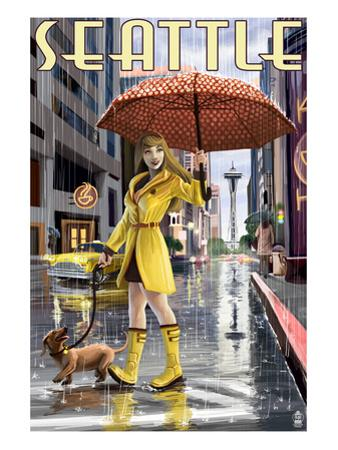 Seattle, Washington - Rainy Day Girl by Lantern Press