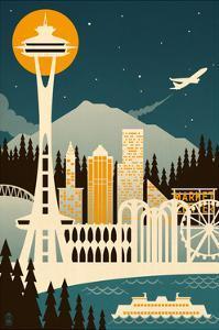 Seattle, Washington - Retro Skyline (no text) by Lantern Press