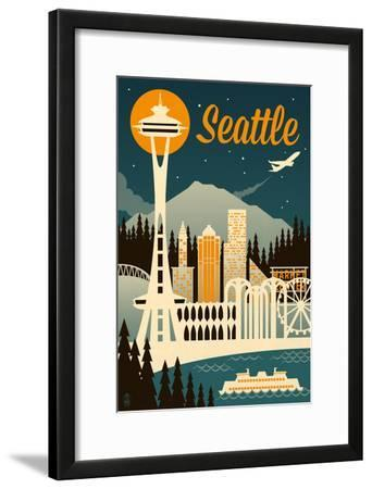 Seattle, Washington - Retro Skyline