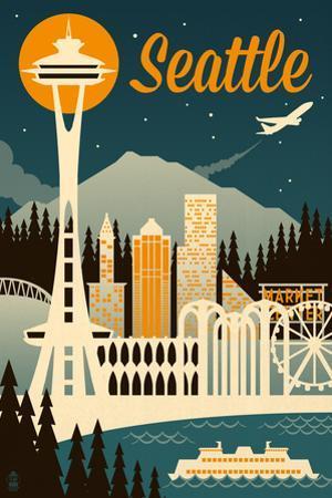 Seattle, Washington - Retro Skyline by Lantern Press