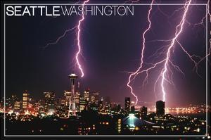 Seattle, Washington - Skyline and Lightening Strike by Lantern Press