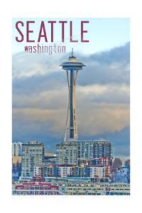 Seattle, Washington - Space Needle and Waterfront Piers by Lantern Press